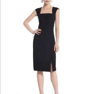 Pencil Skirt Slit Dress, Square Neck, Cap Shoulder